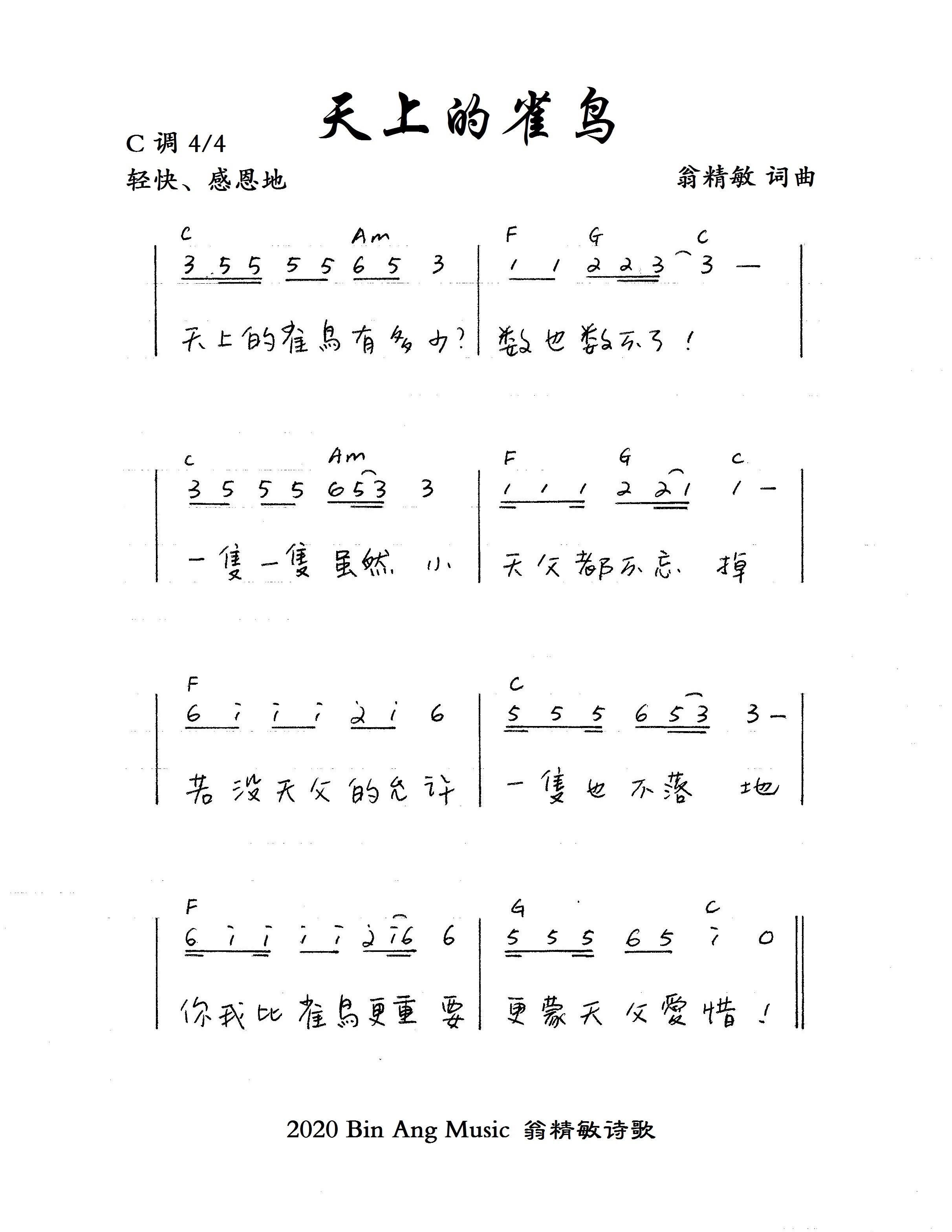 《天上的雀鸟 官方和弦简谱》