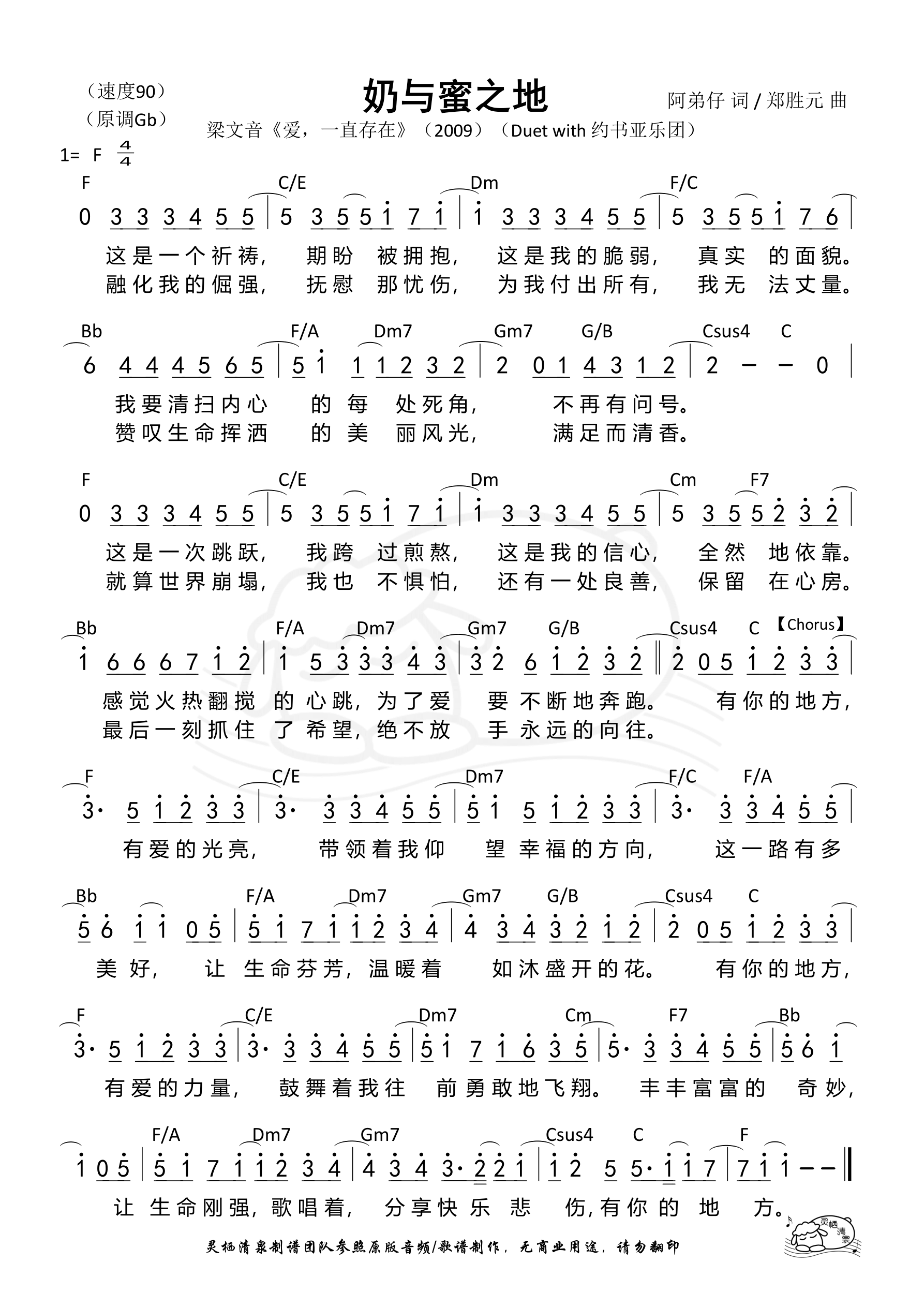 《第62首 - 奶与蜜之地 和弦简谱》