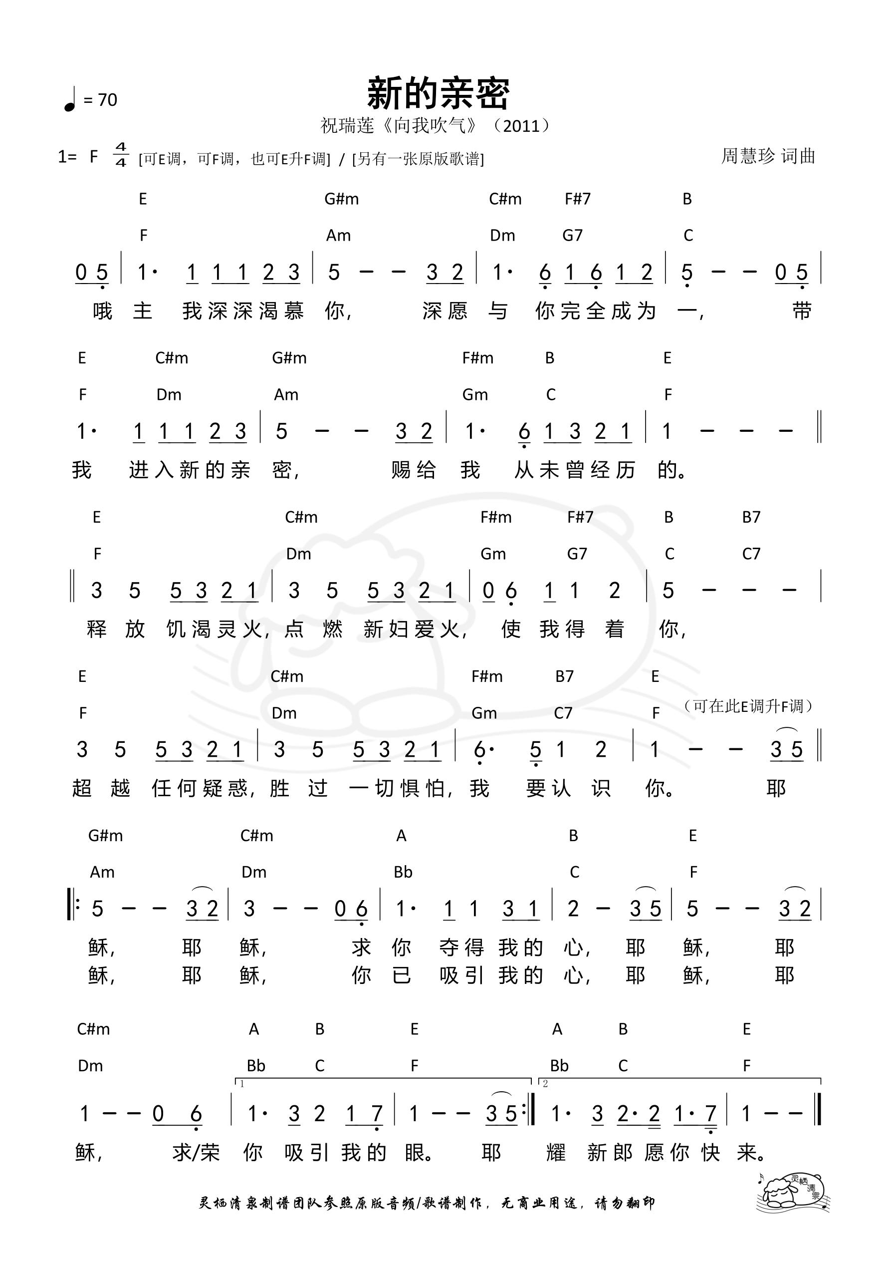 《第930首 - 新的亲密(简版)和弦简谱》