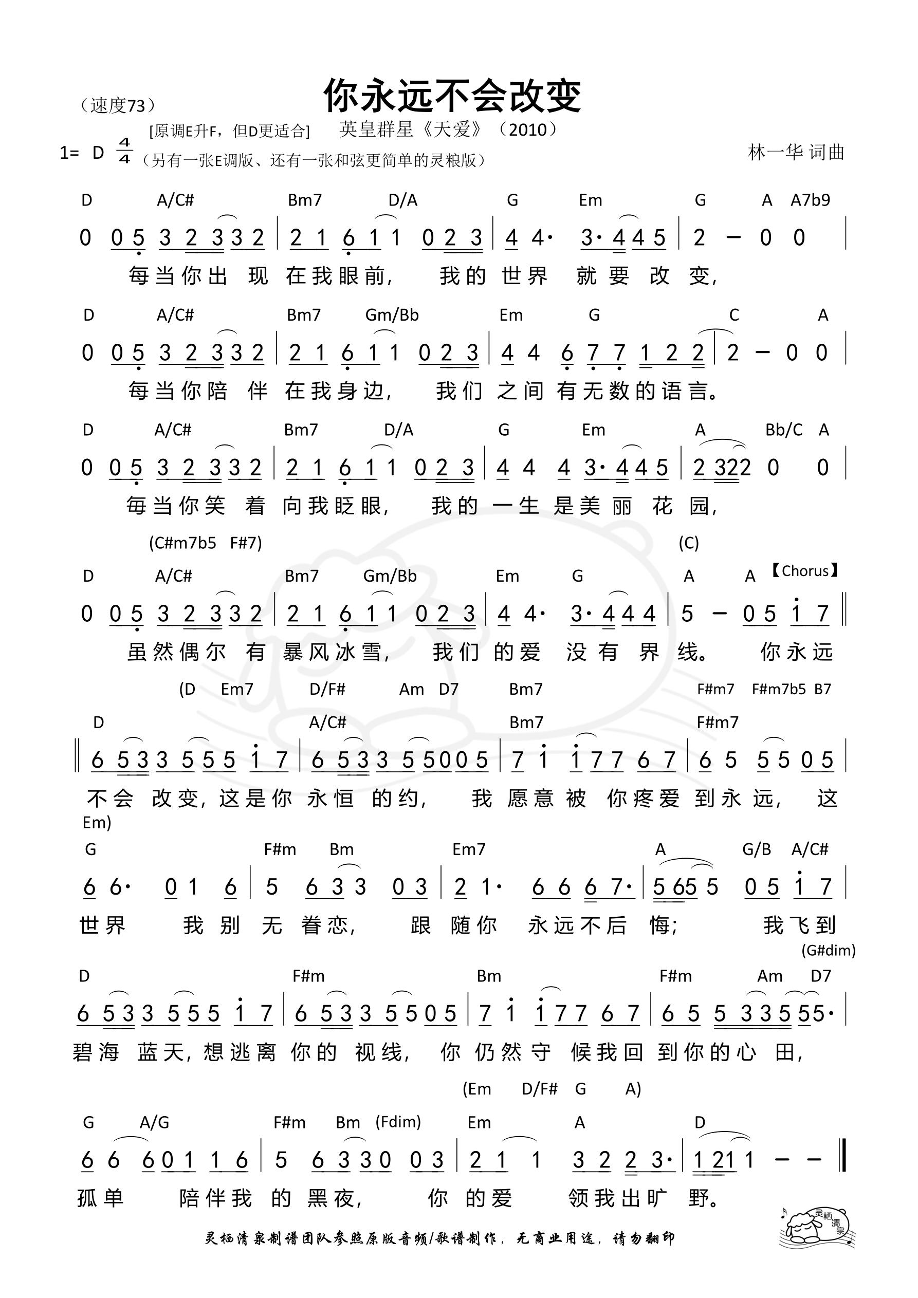 《第952首 - 你永远不会改变(英皇版)(D调)和弦简谱》